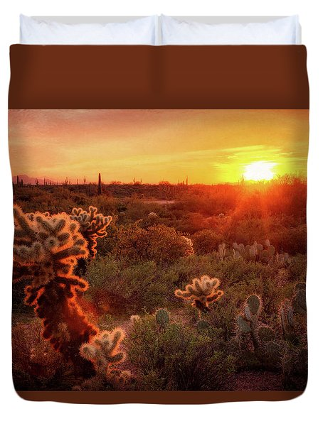 Duvet Cover featuring the photograph Cholla Sunset In The Sonoran  by Saija Lehtonen