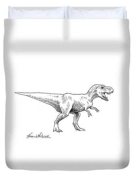Duvet Cover featuring the drawing Tyrannosaurus Rex Dinosaur T-rex Ink Drawing Illustration by Karen Whitworth