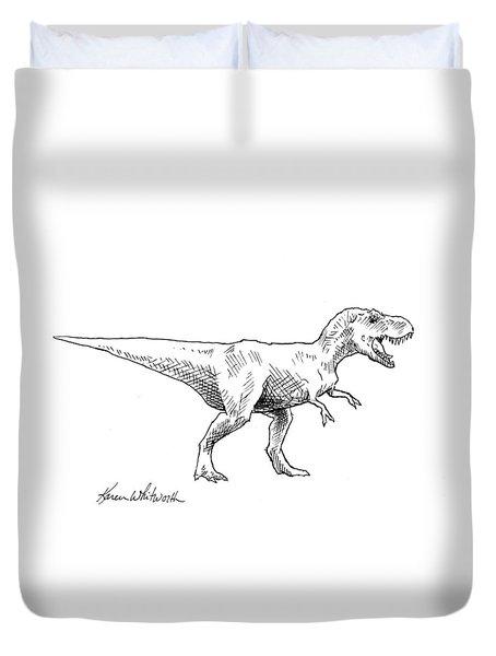 Tyrannosaurus Rex Dinosaur T-rex Ink Drawing Illustration Duvet Cover