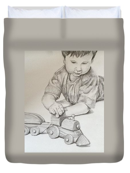 Duvet Cover featuring the drawing Choo Choo by Lisa DuBois