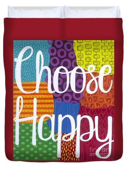 Duvet Cover featuring the painting Choose Happy by Carla Bank