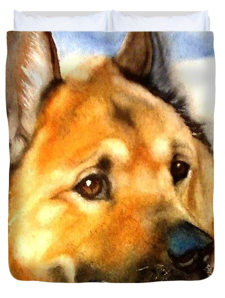 Chow Shepherd Mix Duvet Cover by Marilyn Jacobson