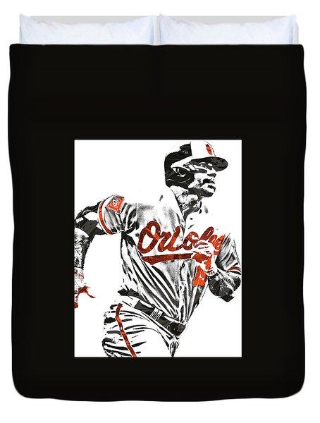Duvet Cover featuring the mixed media Chris Davis Baltimore Orioles Pixel Art by Joe Hamilton