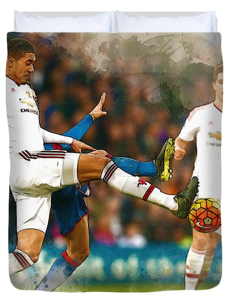 Chris Smalling  In Action  Duvet Cover by Don Kuing