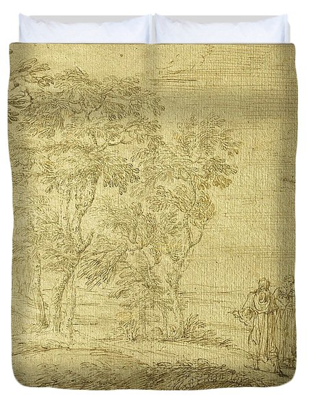 Christ And The Disciples On The Road To Emmaus Duvet Cover
