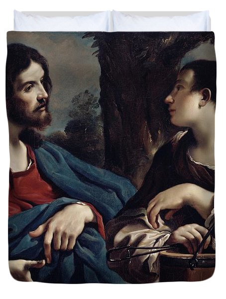 Christ And The Woman Of Samaria Duvet Cover by Giovanni Francesco Barbieri Guercino