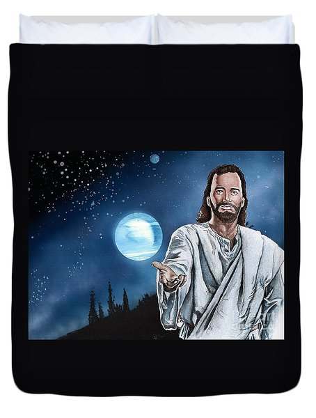Christ At Night Duvet Cover by Bill Richards