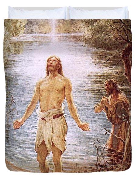 Christ Baptised By John The Baptist Duvet Cover by William Brassey Hole