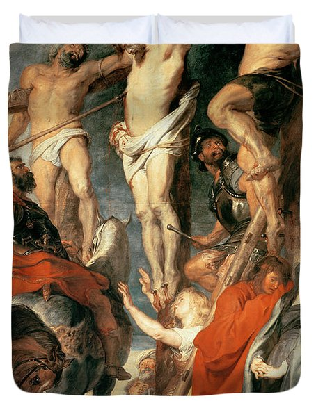 Christ Between The Two Thieves Duvet Cover by Peter Paul Rubens
