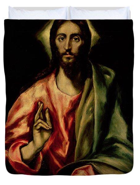 Christ Blessing Duvet Cover