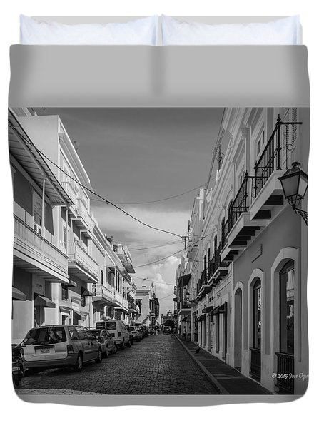 Duvet Cover featuring the photograph Christ Chapel Street by Jose Oquendo