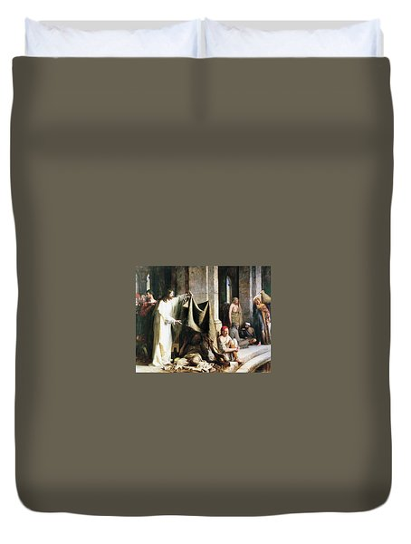 Christ Christ And The Man At The Healing Wel Duvet Cover