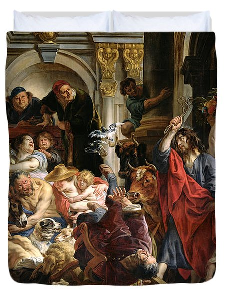 Christ Driving The Merchants From The Temple Duvet Cover by Jacob Jordaens