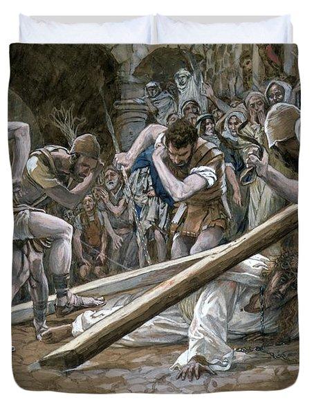 Christ Falls Beneath The Cross Duvet Cover by Tissot
