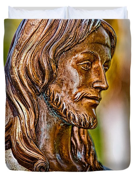 Christ In Bronze Duvet Cover by Christopher Holmes