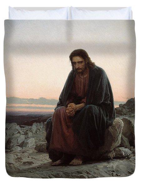 Christ In The Desert Duvet Cover