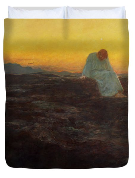 Christ In The Wilderness Duvet Cover by Briton Riviere