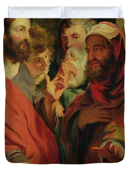 Christ Instructing Nicodemus Duvet Cover by Jacob Jordaens