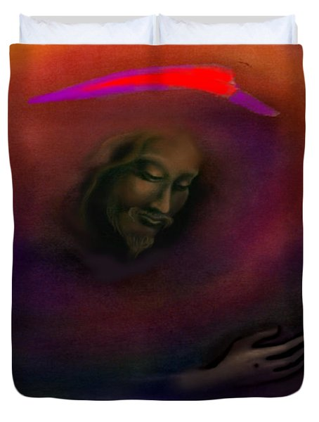 Duvet Cover featuring the painting Christ by Kevin Middleton