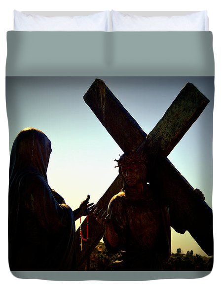Christ Meets His Mother Duvet Cover