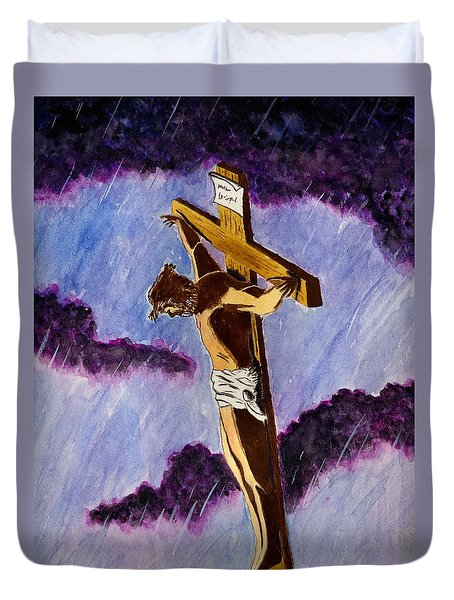Christ On The Cross Duvet Cover by Michael Vigliotti