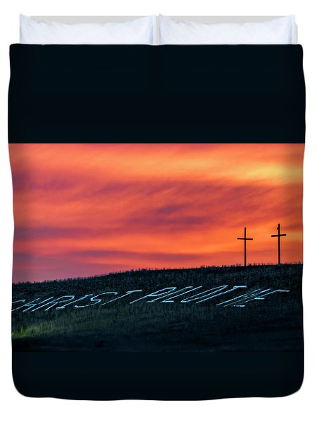 Christ Pilot Me Hill Duvet Cover
