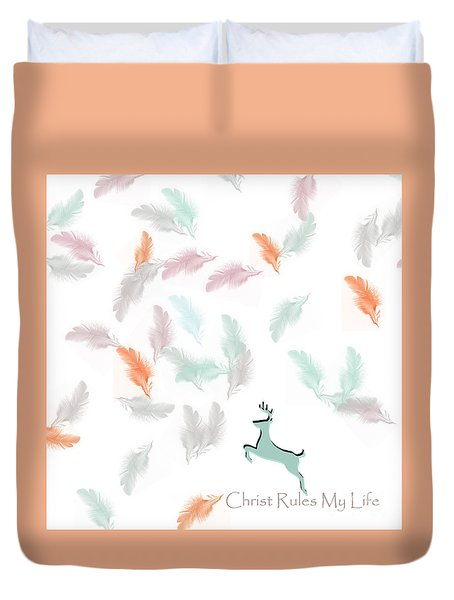 Duvet Cover featuring the digital art Christ Rules My Life by Trilby Cole