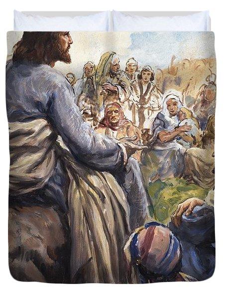 Christ Teaching Duvet Cover by English School