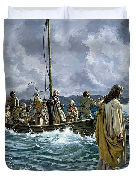 Christ Walking On The Sea Of Galilee Duvet Cover