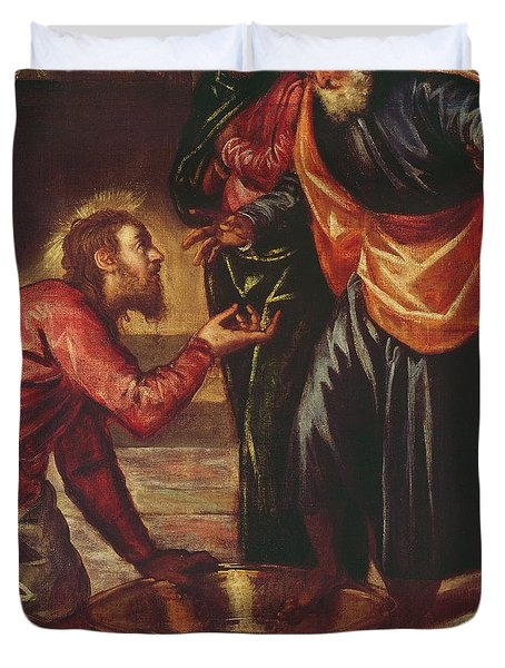 Christ Washing The Feet Of The Disciples Duvet Cover by Tintoretto