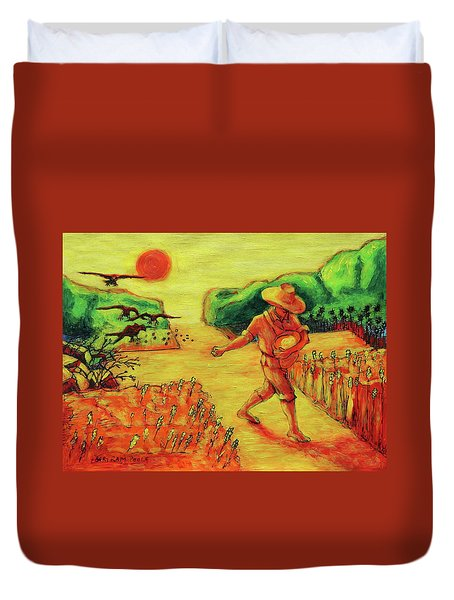 Duvet Cover featuring the painting Christian Art Parable Of The Sower Artwork T Bertram Poole by Thomas Bertram POOLE