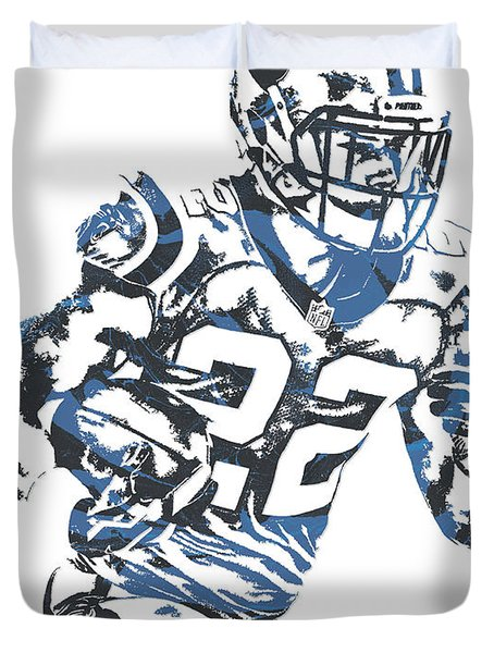 Christian Mccaffrey Carolina Panthers Pixel Art 3 Duvet Cover