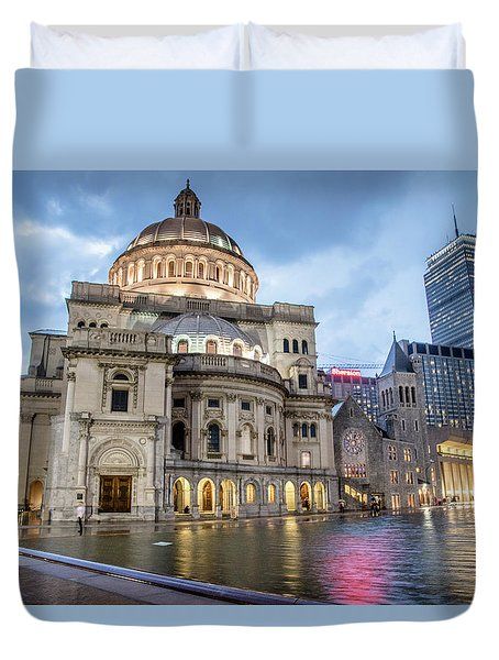 Duvet Cover featuring the photograph Christian Science Center In Boston by Peter Ciro