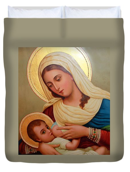 Christianity - Baby Jesus Duvet Cover by Munir Alawi