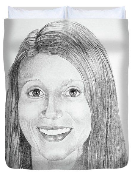 Duvet Cover featuring the drawing Christina by Mayhem Mediums