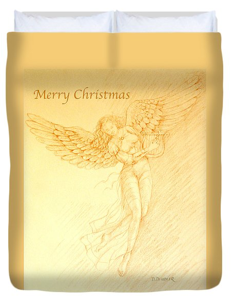 Christmas Angel With Harp Duvet Cover
