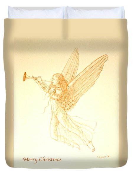 Christmas Angel With Trumpet Duvet Cover
