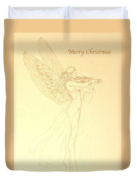 Christmas Angel With Violin Duvet Cover