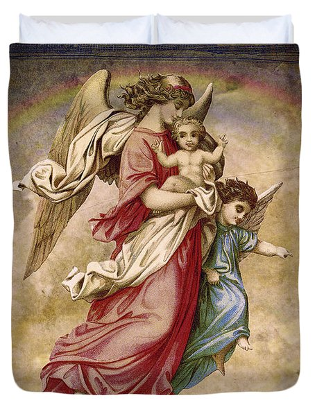Christmas Angels And Baby Duvet Cover