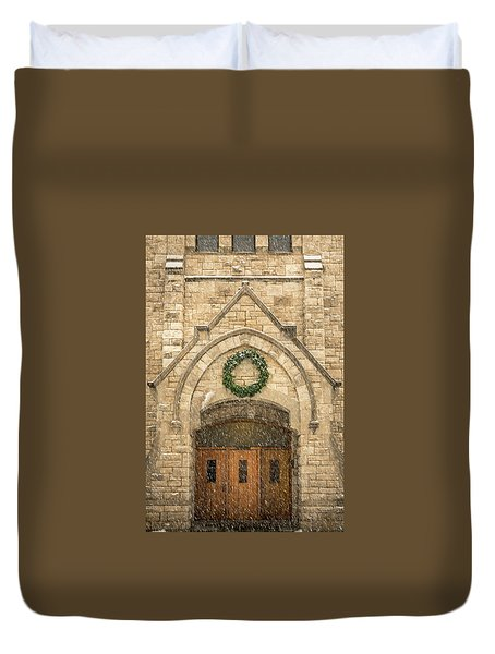 Christmas At Stone Chapel Duvet Cover