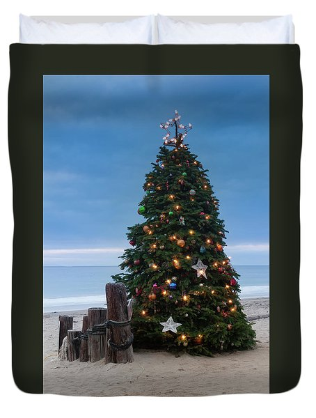 Christmas At The Beach Duvet Cover
