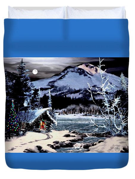 Christmas At The Lake V2 Duvet Cover by Ron Chambers