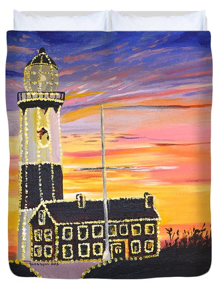 Christmas At The Lighthouse Duvet Cover
