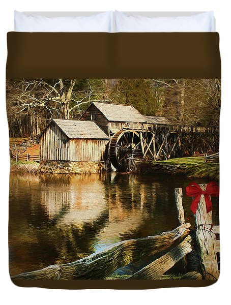 Duvet Cover featuring the photograph Christmas At The Mill by Darren Fisher
