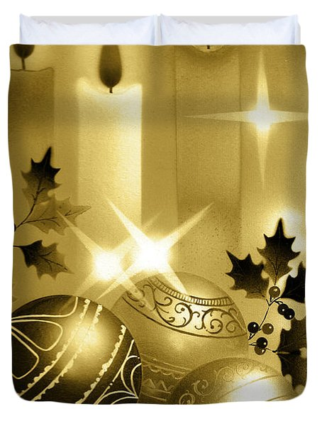 Christmas Balls And Candles Black And Gold Duvet Cover