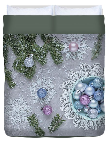 Duvet Cover featuring the photograph Christmas Baubles And Snowflakes by Kim Hojnacki