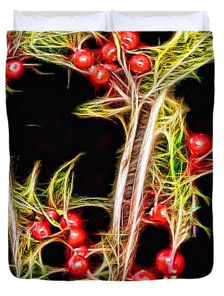 Christmas Berries Duvet Cover by EricaMaxine  Price
