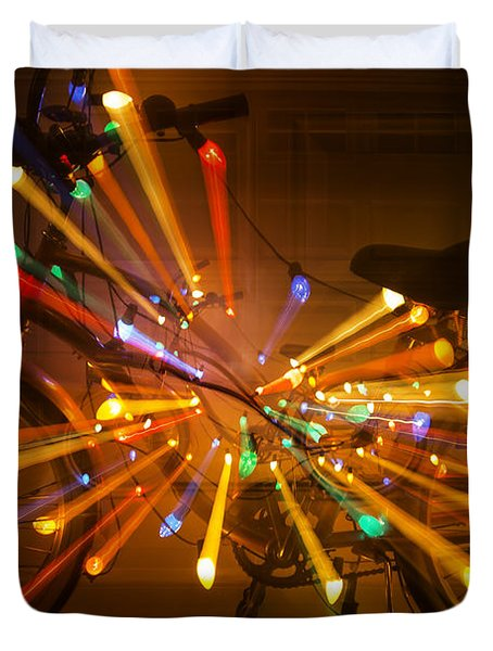 Christmas Bike Abstract Duvet Cover