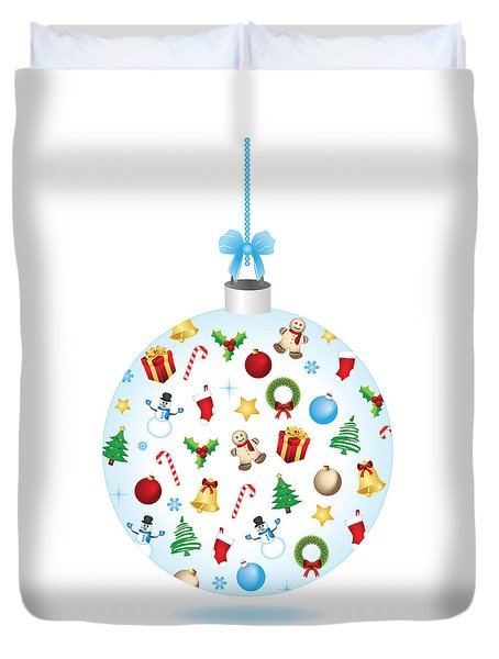 Christmas Bulb Art And Greeting Card Duvet Cover