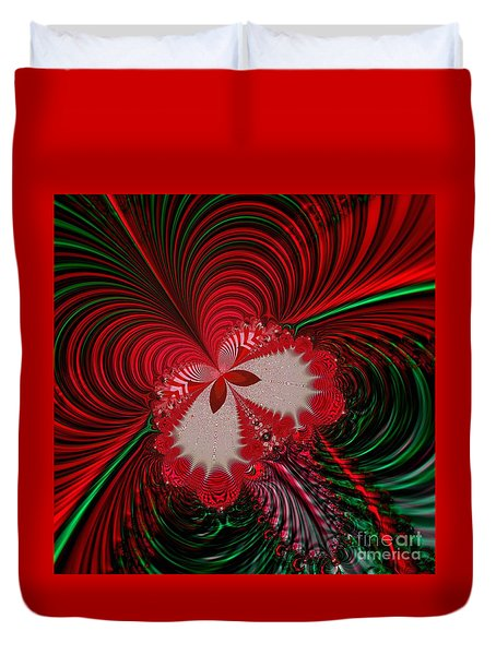 Christmas Butterfly Fractal 63 Duvet Cover by Rose Santuci-Sofranko